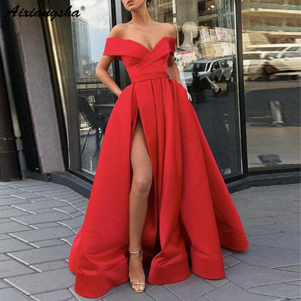 Elegant Off The Shoulder Red Party Gown Satin Sexy Prom Dress Sky Blue High Slit Plus Size Prom Dresses 2019 Long Vestido Fiesta Y19072901