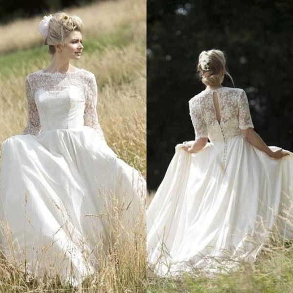 Vintage Spring Country Wedding Dresses Simple A Line Latest 2019 Top Lace Half Sleeves Plus Size Filed Garden Chiffon Bridal Gowns