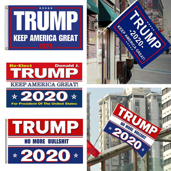 top popular 8 Colors Decor Banner Trump Flag Hanging 90*150cm Trump Keep America Great Banners 3x5ft Digital Print Donald Trump 2020 Flag BH1749 TQQ 2019