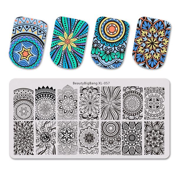 BeautyBigBang NUEVO 1 UNID Estampado para clavos Spiral Screw Mandala Design stencil para Nail Stamping Placas Nail Art Tools XL-057
