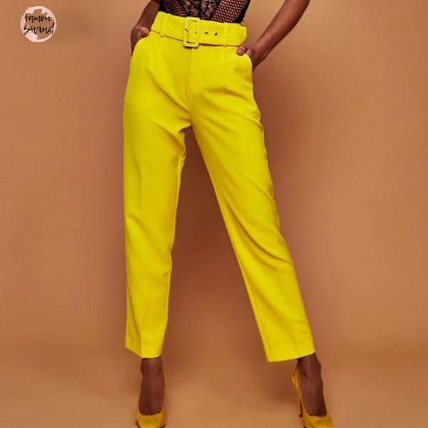 Haut pantalon décontracté taille Automne Belted jambe Slacks Bureau Lady Costume Pantalon droit Pantalons pour femmes Chute d'expédition