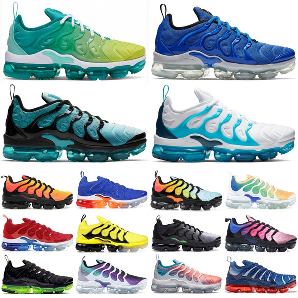 2019 TN Plus Racer Blue University Red Women Mens Running Sports Designer Shoes Spirit Teal Geometric Active Rainbow Men Sneakers Trainer