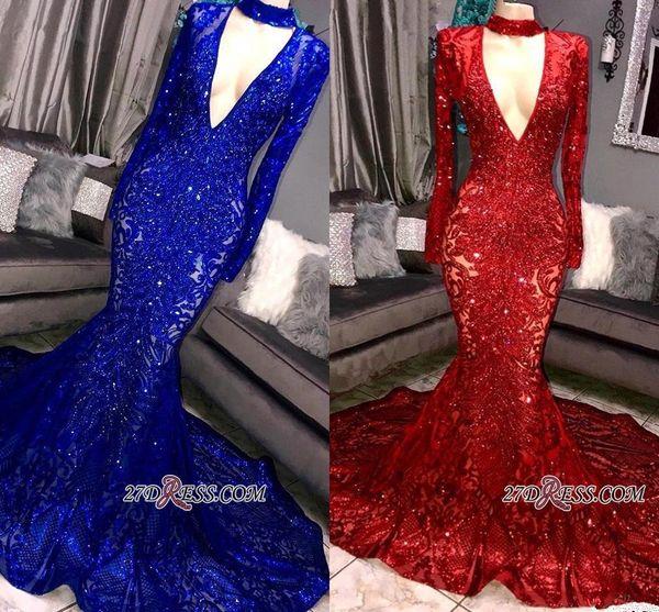 2019 glamour royal bleu rouge paillettes sirène robes de bal Sexy Deep V Cou manches longues Celebrity robes de soirée BC0842