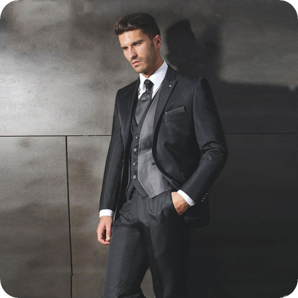 Vintage Black Satin Groom Tuxedo Men Suits for Wedding Peaked Lapel Groomsmen Outfit Man Blazer Costumes Pour Hommes 3Piece Coat Pants Vest
