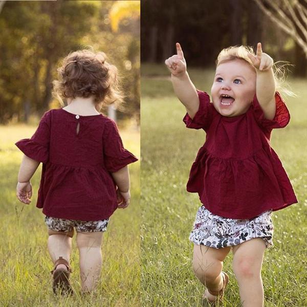 Bebê recém-nascido roupa da menina Da Criança Crianças Meninas Do Bebê de Manga Curta Soild Saia Tops + Lace Shorts Outfits Conjuntos # C