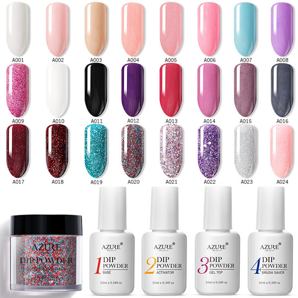 28 Unids / lote Dipping Powder Gradient Color Glitter Nail Powder Set Conjunto completo Color Glitter Holo Powder Base Top Coat Activator Kits de gel