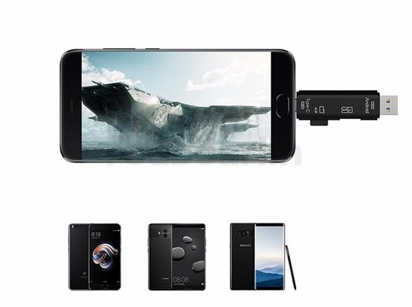 50 pcs 3 en 1 Type C Micro USB MICRO OTG USB 2.0 Adaptateur Carte TF Type-C Adaptateur Lecteur Flash Pour Android