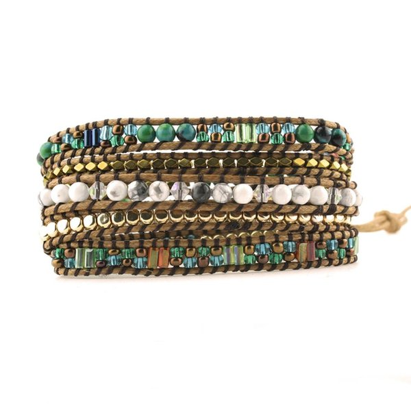 Top Quality Mixed Stones Gold Beads 5 Layered Leather Wrap Bracelets Antique Weaving Bracelet Dropship Jewelry