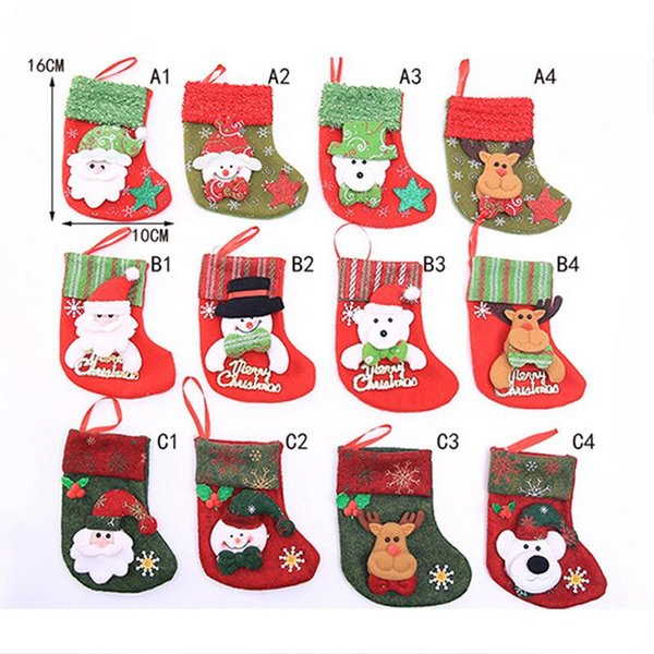 DHL Christmas Stocking Sequin Socks Gifts Sacks Candy Bags Cartoon Stockings Christmas Tree Decor Santa Claus Snowman Deer Bear Hot Sale