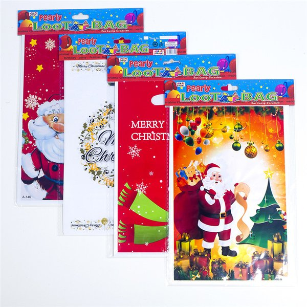10pcs/set Xmas Self-adhesive Cookie Packing Plastic Bags Candy Cake Package Christmas Biscuit Packing Bag Gifts Bags