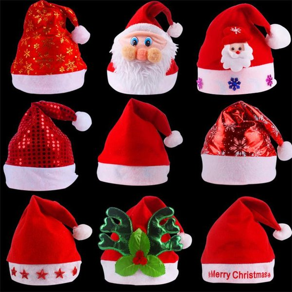 Erwachsene Kinderweihnachtshüte Sankt-Hüte en gros, gute Qualitätsweihnachtsweihnachtsmann-Hüte aller Arten