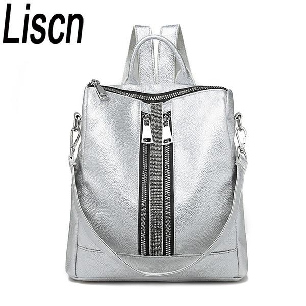 Women's Daypacks Silver New Zipper Women Backpack Travel Stripe Small Backpacks Pu Leather Waterproof Totes Luxury Shoulder Bag Y19052801
