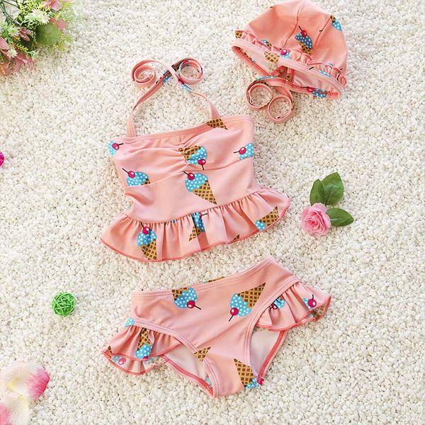 Vêtements pour enfants filles maillot de bain trois pièces maillot de bain pour enfants de mode et de belles maillots de bain à volants pour enfants bikini costumes de bébé maillot de bain