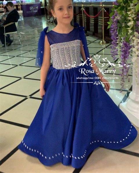 Luxury Glitz Toddler Girls Pageant Dresses 2019 A Line Crystal Beaded Royal Blue Long Satin Infant Little Girls Pageant Gown Size 10