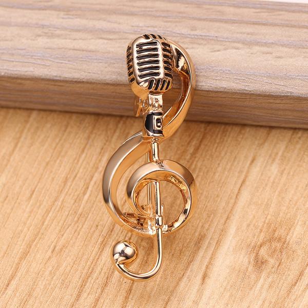 Classic Musica rappresenta il Microfono d'oro Forma Spilla Music Lovers' Gioielli Cantante rock club migliore regalo delle signore degli uomini di