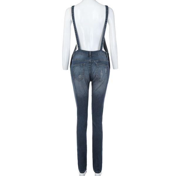 2019 rompersWomen Casual Denim Bib Pants Hole Overalls Jeans Straps Demin Trousers Rompers W312