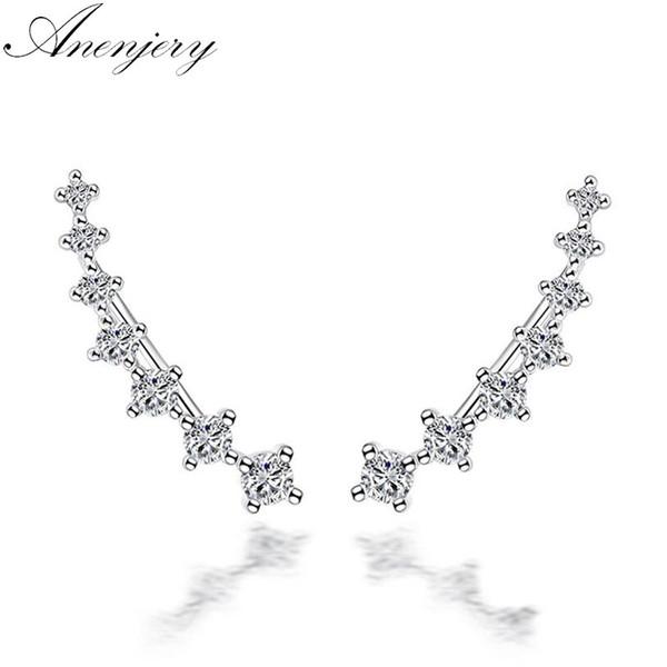 Anenjery 925 Sterling Silber Vier Sieben Sterne Zirkon Clip Ohrringe Für Frauen Ohr Manschette boucle d'oreille femme S-E243