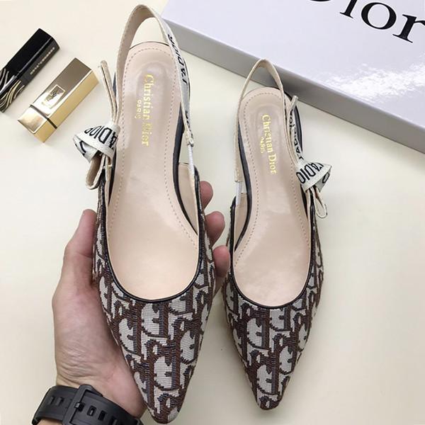 Женские туфли на высоком каблуке Свадебные туфли на плоской подошве с острым носком для вечеринок из технической ткани Bombas de mujer Модная обувь Сандалии класса люкс W # 22