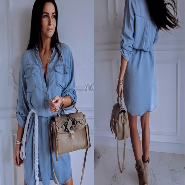 летнее платье для женщин джинсовые повседневные платья свободные весна осень с длинными рукавами пуговицы одежда Wancui V-образным вырезом карман джинсов рубашка платье