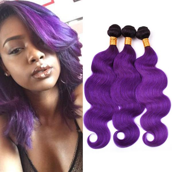 "Ombre Purple Body Wave Human Hair Weave Bundles 3Pcs Lot #1B/Purple Dark Roots Ombre Peruvian Human Hair Bundles Wefts Extensions 10-30"""