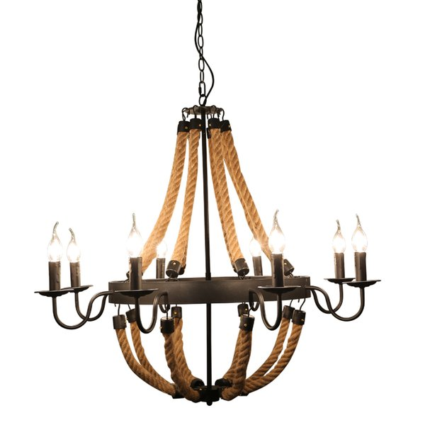 American hemp rope candle chandelier Nordic iron 6/8 heads lamps art For bar cafe store retro room lamps Suspension Light G156