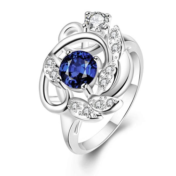 Zirkon Ring für Frauen Mädchen Weihnachtsgeschenk CZ Ring Shiny Blue Farbe Blume Ringe