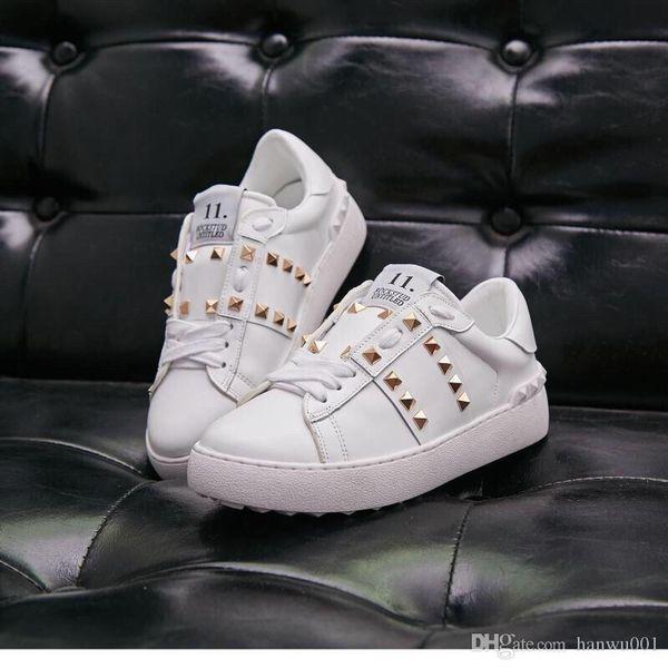 2019 célèbres hommes et femmes nouveaux concepteur baskets noir marque hommes concepteur fond rouge chaussures de luxe véritable appartements orteil en cuir yz19012405