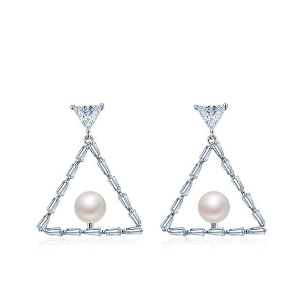 925 sterling silver personality triangle imitation pearl pendant earrings temperament simple versatile earrings 5-ER0323