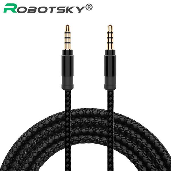 Robotsky Jack 3.5mm Audio Cable Nylon Braid 3.5mm Car Aux Cable 1.5m Headphone Extension Code For Phone Mp3 Car Headset Speaker