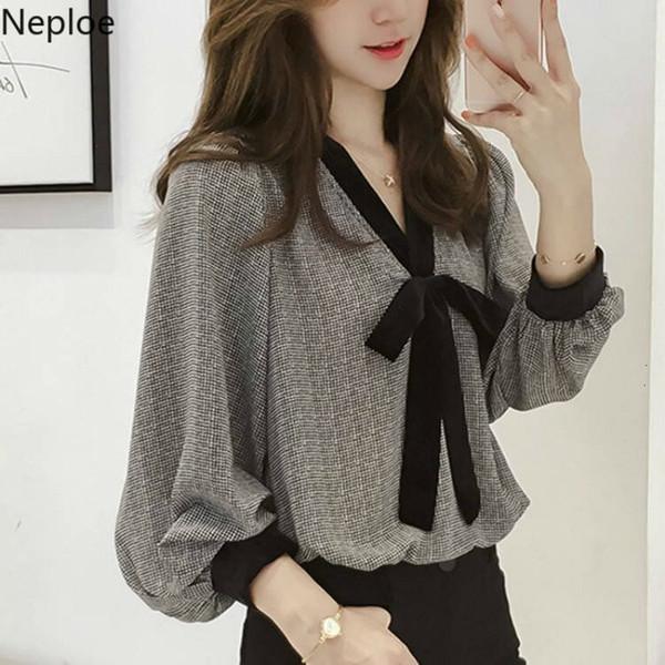 Neploe Plus Size Blouses Shirt Femme Tops Chemisier en mousseline de soie coréenne mode élégante Plaid lanterne manches en vrac Femme Blusa 38772 SH190914