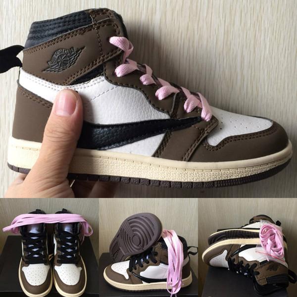 Bebek Çocuk Ayakkabı Tasarımcısı Orta Kahverengi Travis Scott Basketbol Ayakkabı Cactus Jack Sneakers Erkek Kız Bebek Eğitici Koşu Ayakkabı Mavi Sarı