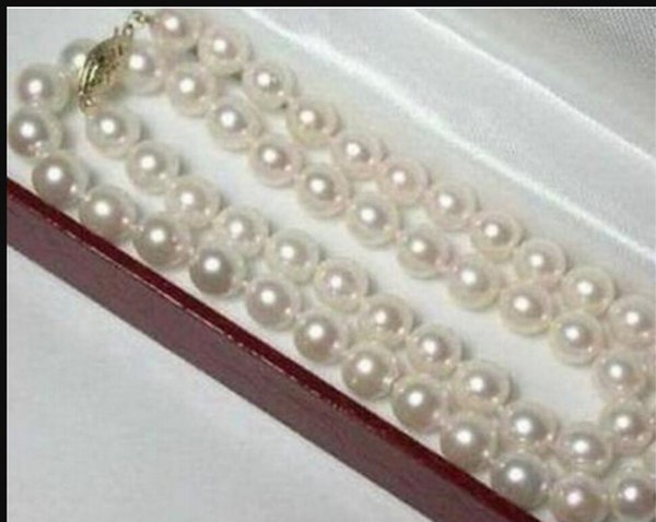 """necklace Free shipping ++++809 6-7mm Real Natural White Akoya Cultured Pearl Necklace 18"""""""