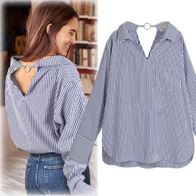 TOPSplus boyutu kadın bluzlar 2018 KADıNLAR Yüksek Kalite İlkbahar Yaz kadın casual Giyim Tiki Tarzı Çizgili gömlek