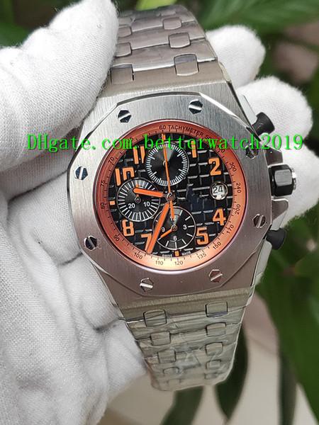 guardano Best di alta qualità di lusso di vendita digitale arancione dell'orologio 26170ST movimento al quarzo 42mm uomini cronometro cronografo in acciaio inox