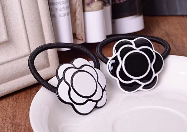 4X4CM black and white acrylic C style hair accessories jewelry hair clips headdress flower hair rope rubber band Counter gift 4pcs/lot
