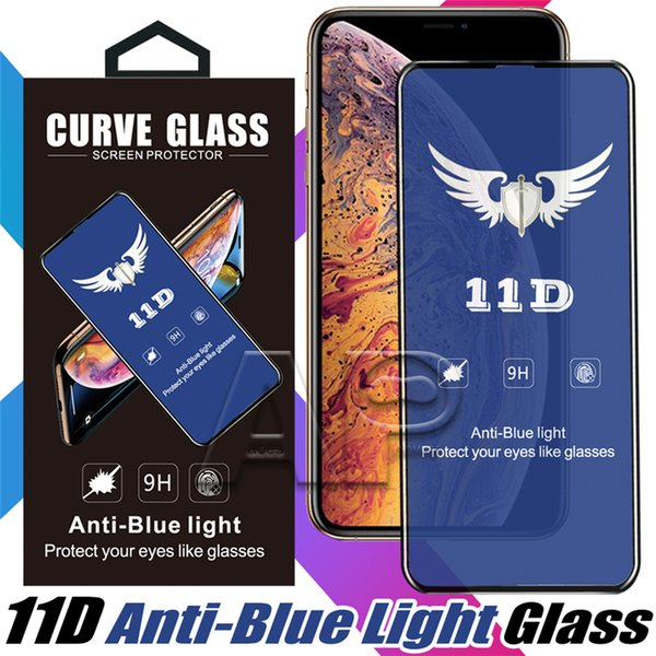 11D Anti-blue Light Tempered Glass Screen Protector for iPhone X XR Xs max Samsung Protective Glass with package
