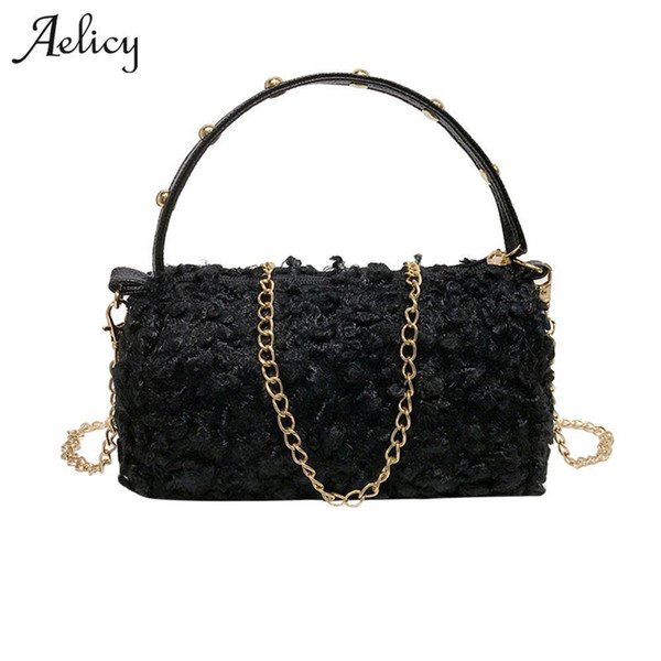 Aelicy Nice New Fashion Joker Wool Womens Flap Lady Evening Bags Small Luxury Shoulder Messenger Crossbody Bags For Girls