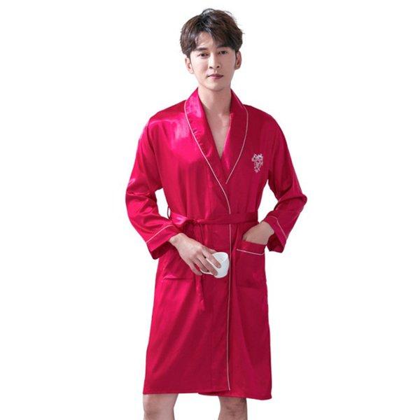 2019 Spring Summer New Men Sexy Robe set manica lunga in raso 2 pezzi per il bagno di casa e il sonno