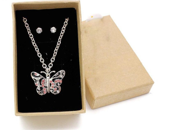 Cute Kid Jewelry Set Butterfly Necklace Women Silver Chain Pink Rhinestone Necklace For Girls Daughter Christmas Children Gift With Box-P