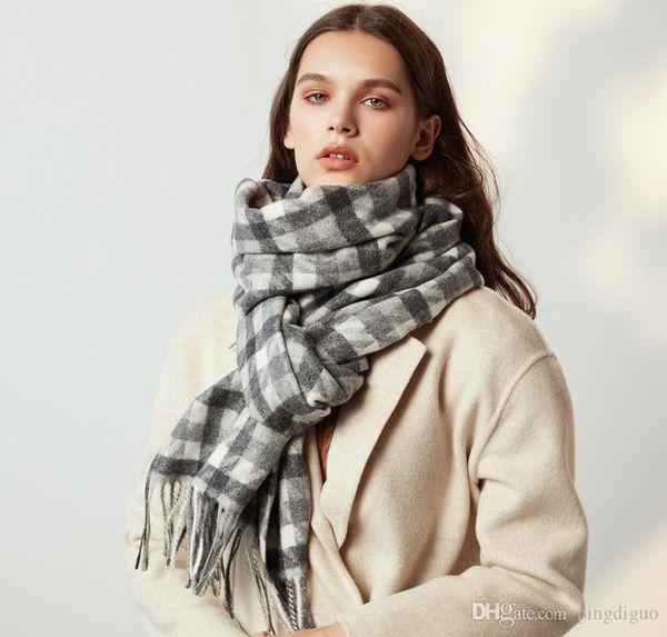 Frauen-Kaschmir-Schals Herbst Winter neue weibliche Wolle Tartan Schal Dame Weit Gitter Lange Schal-Verpackung Decke Warm Tippet