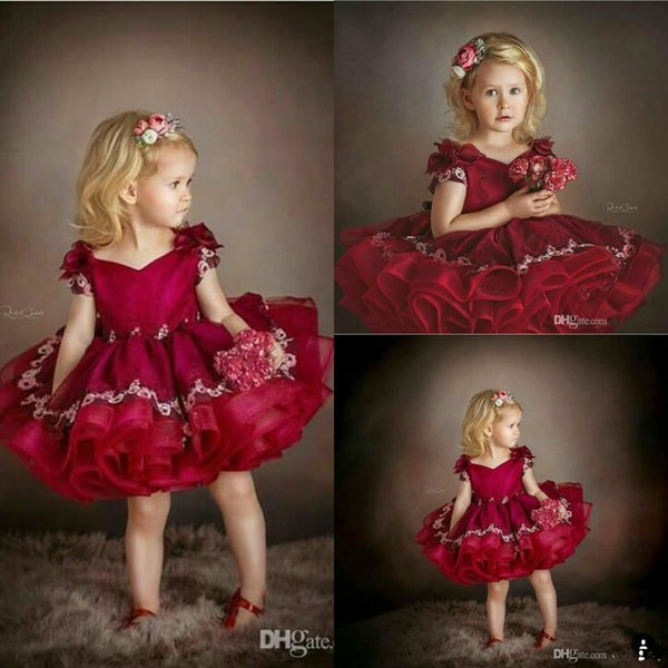 Burgundy Ball Gown Flowers Girls Dresses V Neck Tiered Skirts Princess Mini Toddlers Pageant Party Dress For Wedding Evening