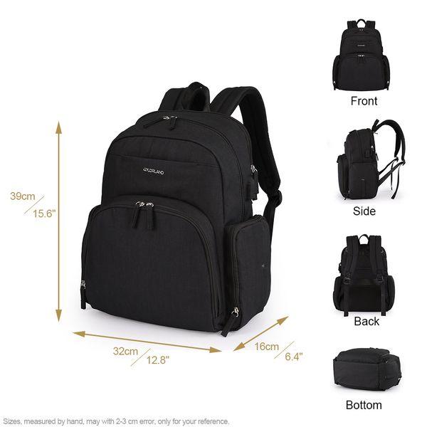 Bolso multifuncional con bolsa para bomba de lactancia, mochila, bolsa de pañales, compartimiento para portátil, pañal para bebés, bolsa de pañales para cambiar, negro (negro / camuflaje / gris)