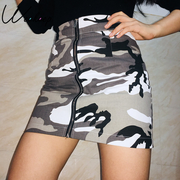 Weekeep Sexy Camouflage High Waist Denim Skirt Spring Autumn Spring Front Zipper Cotton Short Skirts Slim Mini A-line Skirt SH190824