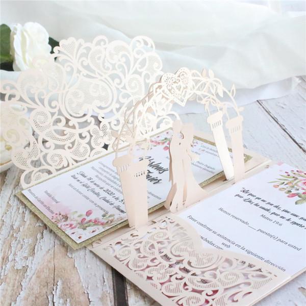 Customized Print 3d Bride Groom Pink Wedding Invitation Card Laser Pocket Floral Engagement Invitations Ic052 Cards Greeting Cards Greetings From
