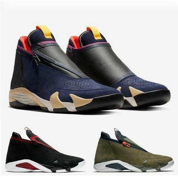 Nouveau 2019 14s Zipper Basketball Chaussures Hommes Suede Olive Marine Dernier Tir Baskets De Race Jumpman 14s XIV Formateurs Aq9119-001 Aq9119-400 Baskets