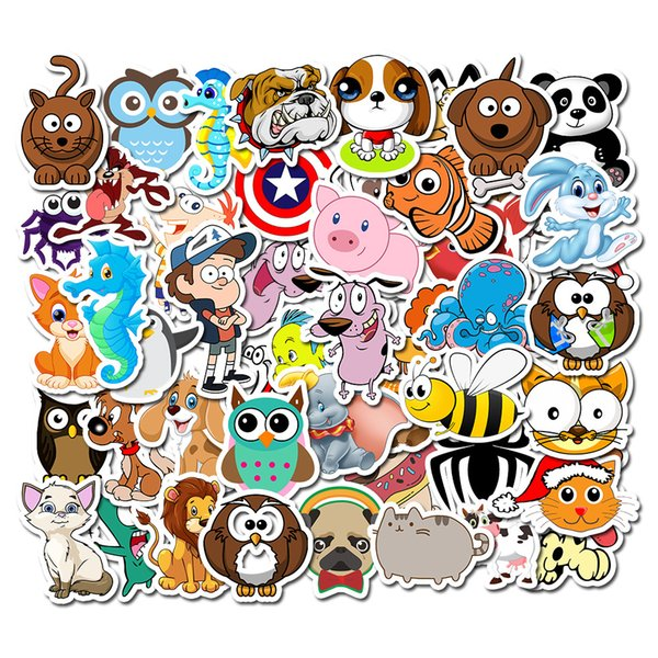 50pc Cute Puppy stickers Kids love Colorful For Small Room Suitcase Bike Deco Guitar stickers Phone Ipad Decal Pvc JDM Stickers