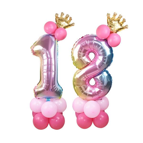 32 pouces feuille Nombre bleu rose Ballons Chiffre hélium Ballons de fête d'anniversaire de mariage Décor Air Baloons Party Supplies événement