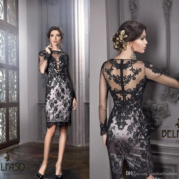 New Little Black Dresses Bateau Sheath Knee Length Elegant Plus Size Mother Of The Bride Groom Dresses Sheer lace Sexy Cocktail Gowns