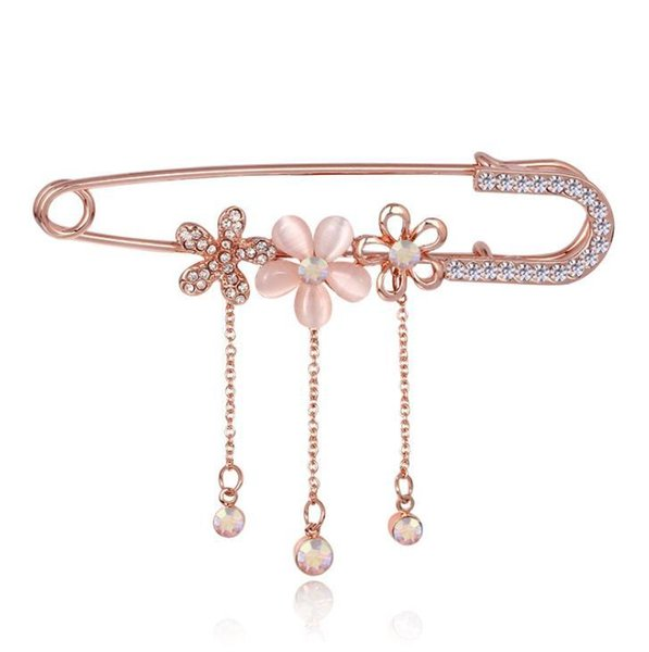 Rose Golden Tassel Crystal Flower Brooch Pin Dress Rhinestone Decoration Buckle Pin Jewelry Brooches For Men Women