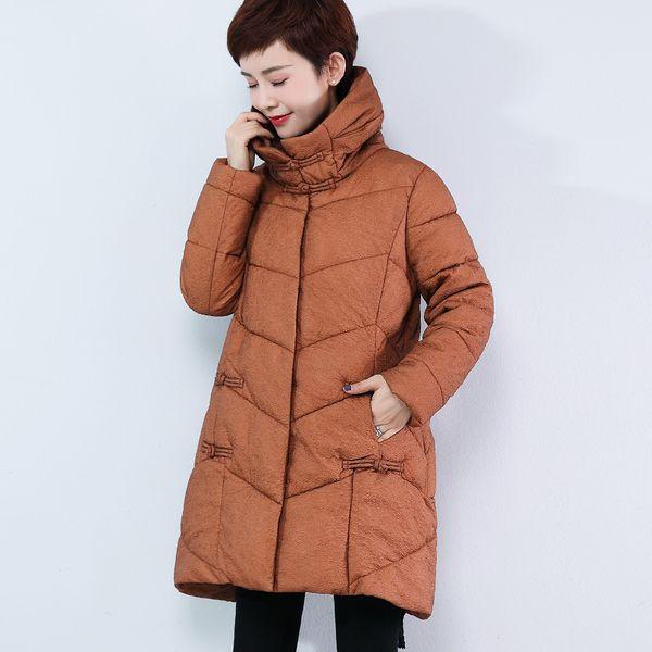 Среднего возраста Женская одежда зима высокий воротник хлопок-мягкий одежда 2018 новый стиль теплое пальто среднего возраста женщин платье средней длины